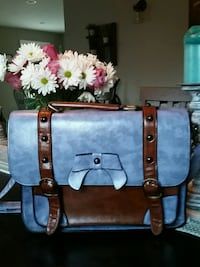 Blue and Brown Leather Handbag Queensbury, 12804
