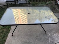 rectangular black metal framed glass top patio table Toronto, M3N 2H4