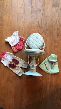 Our generation salon chair & 2 outfits. Fits America Girl dolls Chantilly, 20152