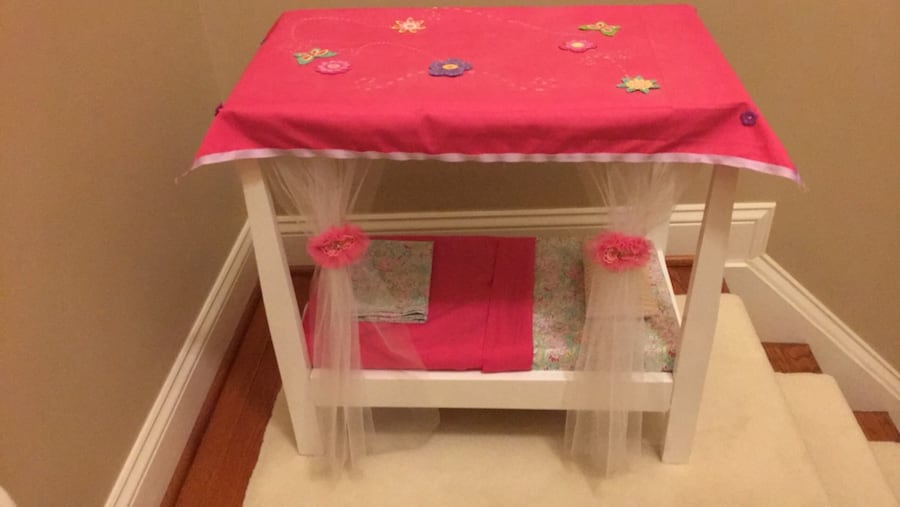 Doll bed with canopy fits American Girl doll 93228049-5732-43ef-91fc-06bf422be630