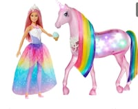 Barbie Dreamtopia Magical Lights Unicorn and Doll Vaughan