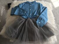 black and blue button-up long-sleeved dress