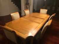 Century French dining room table with 6 upholstered chairs. Comes with with two leafs. In excellent condition! Comes with table pads. Elmhurst, 60126