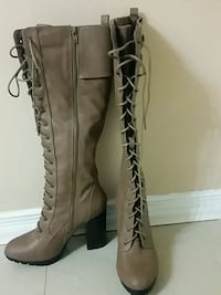 pair of brown leather knee-high boots Brampton, L6X 1E5