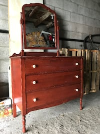 brown wooden dresser with mirror Montreal
