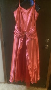 Salmon pink satin spaghetti strap long gown prom dress
