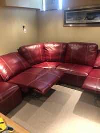 Red leather sectional sofa with ottoman Angus, L0M 1B4