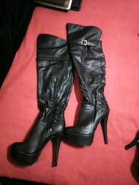 pair of black leather knee-high boots Albuquerque, 87105