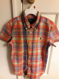 Boy's red and black plaid button-up shirt Bowie, 20716