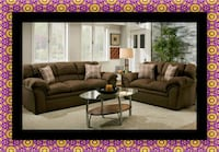 Chocolate fabric sofa and loveseat 68 km