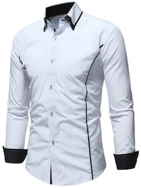 Dress shirt, long sleeve,white with black trim. Langley, V2Y 2Z4
