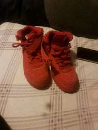 pair of red Nike basketball shoes Toronto, M6K 3C3