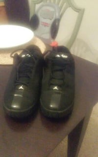pair of black Air Jordan sneakers