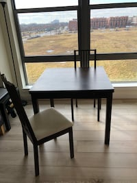 "Table   two chairs for free Extendable table  L : 35 ""  Extended L: 66 ""  W: 35 "" H: 30 ""  Smoke & Pet free house  There is elevator  I cannot deliver, I cannot help, sorry"