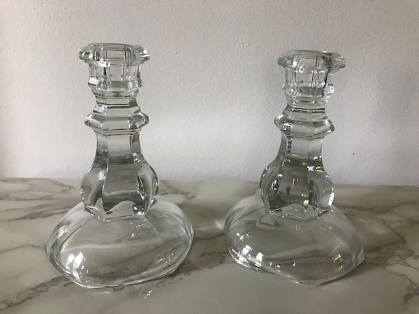 "6"" glass candle holders"
