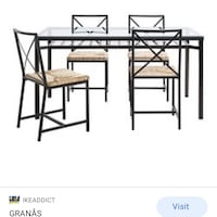 Ikea outdoor tempered glass-top table and chairs