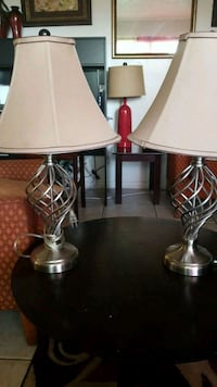 two stainless steel base white shade table lamps Oakland Park, 33334