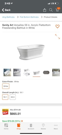 Freestanding bathroom tub