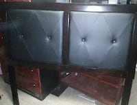 Tufted black leather, brown wooden headboard Baltimore