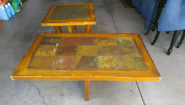 RUSTIC WOOD w/ STONE TILES COFFEE & END TABLES!!!