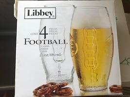 Libbey Football Shaped Set of 4 Drinking Glasses - NEW