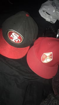 two red and black fitted caps Fresno, 93705