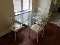 Rectangular glass top table with four chairs dining set Washington, 20032
