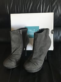 Pair of grey suede heeled booties size 8 Edmonton, T5X 6B7