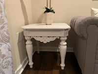 Side end table night  stand white distressed