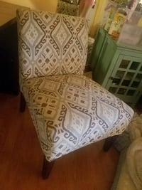 Grey white and teal accent chair
