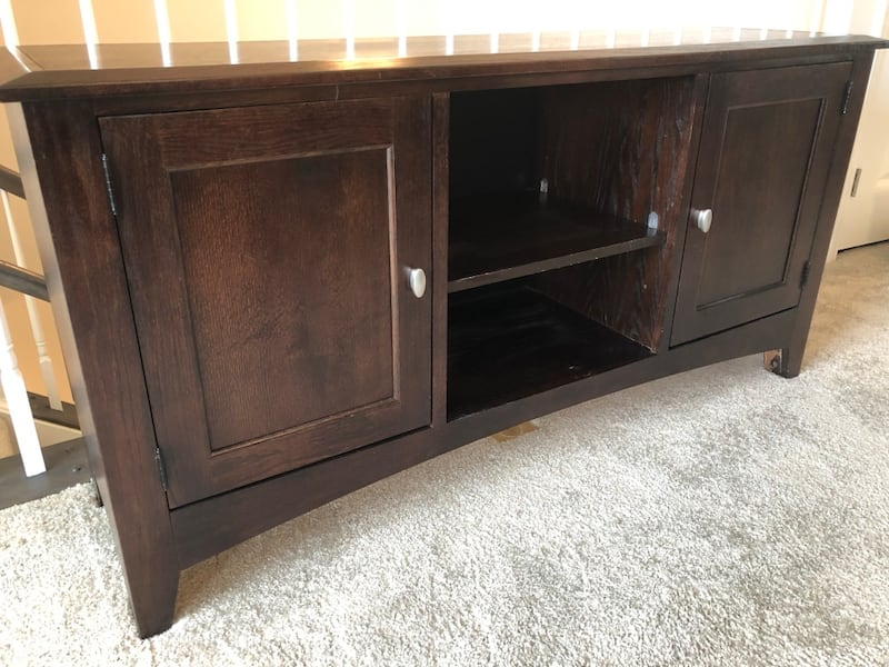 Solid wood expresso-colored TV console 1
