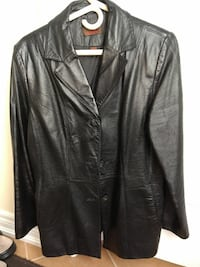 black button-up leather jacket