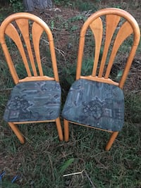 two brown wooden framed gray padded chairs Charlotte, 28213