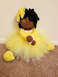 yellow and black amigurumi doll Waldorf, 20602