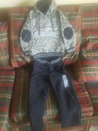 black and white Football hoodie and sweatpants