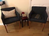 Two navy blue padded armchairs from West elm Washington, 20036