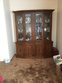 brown wooden framed glass display cabinet Leduc, T9E 8P6