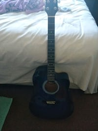 blue acoustic + electric guitar   Los Angeles, 90011