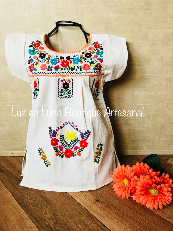 Vestido Mexicano Para Niña De Manta Bordado Para Lucir Como Princesa Este 05 De Mayo Fiesta May 05th Mexican Dress For Girls Embroidered