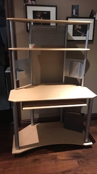 white wooden and grey metal computer desk