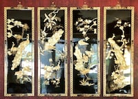 Black lacquered Chinese mother of pearl peacock panels