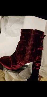pair of red crushed velvet heeled boots Knoxville, 37921