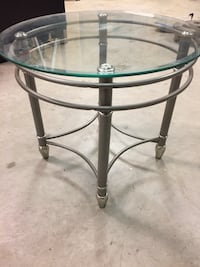 Used gray steel framed glass top round table Bellmawr, 08031