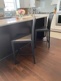 Crate and Barrel Leather Counter Stools (2)