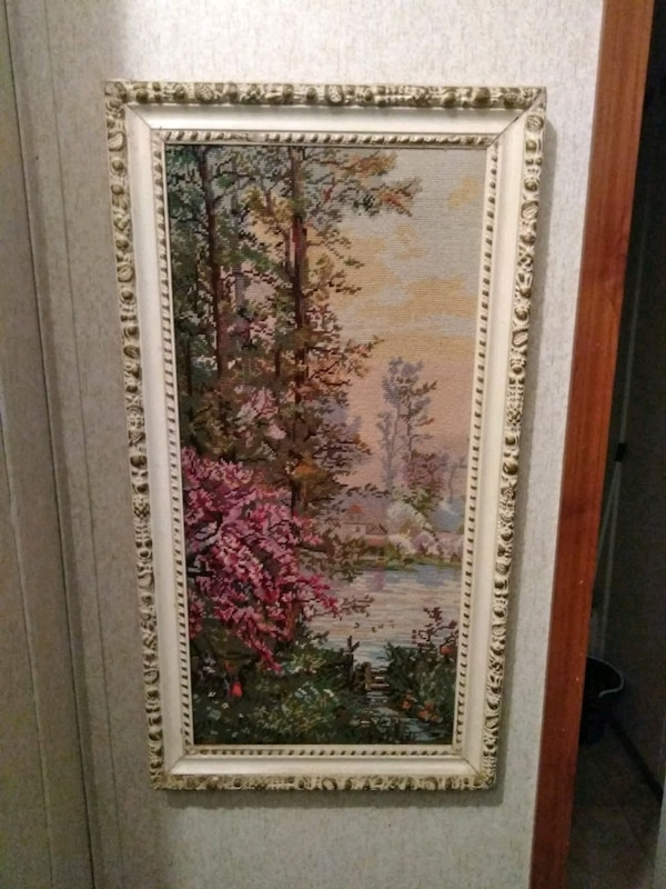 Vintage wong & sons trading co wood frame picture