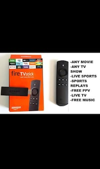 black Amazon Fire TV stick with Alexa voice remote with box