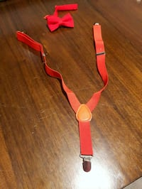 Toddler red suspenders and bow tie set