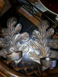 Vintage cast iron candle holders