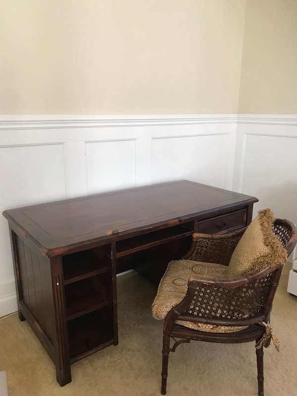 Used Rustic Pottery Barn Home Office Desk And Cane Chair For Sale In