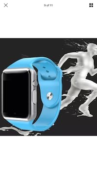 white and blue smart watch